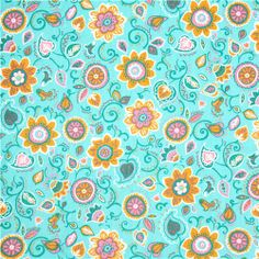 turquoise flower minky fabric fleece plush Spice Garden USA