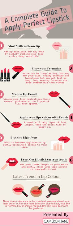 Lipstick plays an important role in enhancing the looks of a woman. But in order to apply lipstick, certain tips need to be followed. Cleaning the lip, knowing your formulas, wearing a lip pencil, applying lip colour with brush, blotting the right way, avoiding lipstick on your teeth are the things that need to be taken care off.