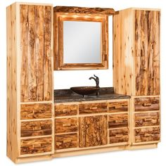 Amish Rustic Log Bathroom Vanity ($899) ❤ liked on Polyvore featuring home, home improvement and plumbing