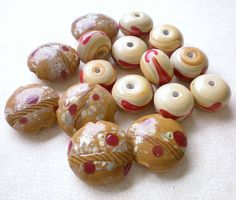Lampwork Glass Beads Brown Red Tan  Set of 16 by jewelry56 on Etsy, $5.50