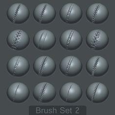16 Custom Seam/Stitch brushes for zBrush SET #2