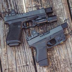 Airsoft Guns, Weapons Guns, Guns And Ammo, Glock Mods, Military Guns, Tactical Gear, Firearms, Hand Guns, Custom Glock 43