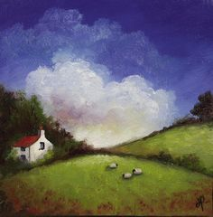 Cottage and Sheep, J Palmer Original oil painting Welsh Landscape Art