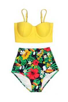 94963b5a679ff Yellow Midkini Top and Floral Flora Flower Flowers High waisted waist rise  Slimming Pin up Shorts Bottom Handmade Woman Women Womens Retro Swimsuit  Bikini ...