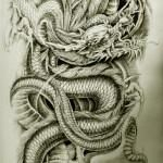 Oriental Dragon Tattoo Style Here are some awesome but weird oriental dragon tattoo designs you can get on yourself and the strange thing its the same old dragon in different poses. Choose which ever you like the most.