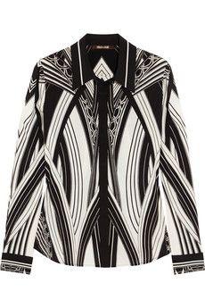 Roberto Cavalli Chicago printed stretch-silk shirt   NET-A-PORTER