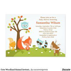 "Cute Woodland Animal Invitation 5"" X 7"" Invitation Card"