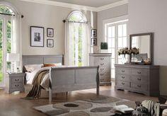 ACME Louis Philippe III Queen Bed Antique Gray - 25500Q