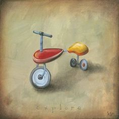Oopsy Daisy - Boy's Toys - Trike Wall Canvas Wall Art 14x14, Heather Gentile-Collins