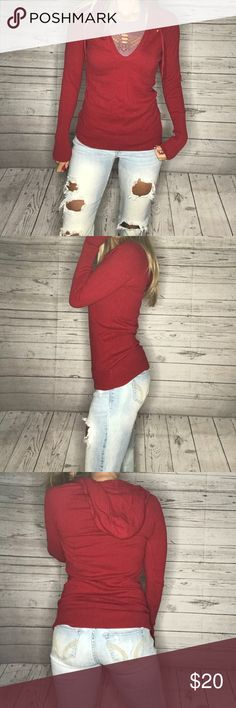 American Eagle long sleeve Adorable hooded long sleeve shirt. It's a warmer style so perfect for fall/winter. It's a size M and super cute. Tops Tees - Long Sleeve
