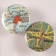 St Louis Map Pinback Buttons by XOHandworks $3