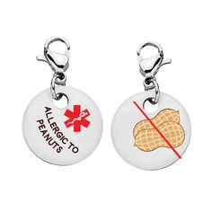 Peanut Allergy//Allergic Medical Alert Tag Pack Zipper Pull Charms//Anaphylaxis//Emergency Tag//Medical Warning