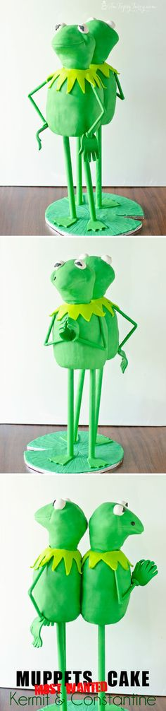 A full tutorial for this standing Kermit and Constantine Cake from the movie Muppets Most Wanted