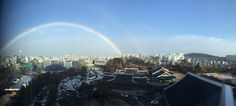 The perfect rainbow... View outside my hotel room in Seoul