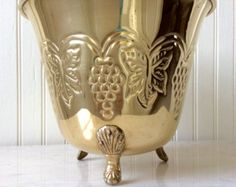 SALE...Vintage Brass Footed Wine Cooler, Ice Bucket, Grapevine Design, Lions Feet, Hollywood Regency, French Country, Tuscan, Barware, Glam - Edit Listing - Etsy
