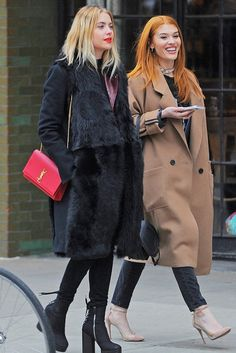 Ashley Benson wearing  Kimora Lee Simmons  Long Hair Shearling Coat, Saint Laurent Monogram Medium Crossbody