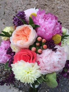 spring bridal bouquet with peonies and garden roses #furstflorist #furstevents #datytonweddings