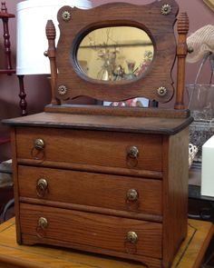 ANTIQUE MINIATURE OAK DRESSER WITH MIRROR -- SALESMAN SAMPLE Oak Dresser, Dresser With Mirror, Antique Bedroom Furniture, Antique Toys, Small World, Doll Accessories, Vintage Dolls, Primitive, Drawers