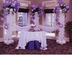 #Purple balloon and tulle decorated serving area…great for @Judith de Munck Clark decorations.