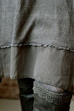 Another great version of the combination of knits with wovens. knit dress closeup hem
