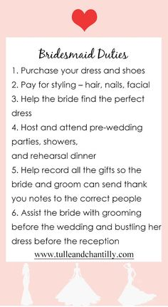 wedding tips about bridesmaid duties for 2020 wedding idea#wedding #weddinginspiration #bridesmaids #bridesmaiddresses #bridalparty #maidofhonor #weddingideas #weddingcolors #tulleandchantilly