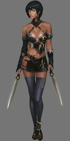 f Rogue Assassin Lt Armor Dual Shortswords Poison urban City undercity lg Dnd Characters, Fantasy Characters, Female Characters, Chica Fantasy, Anime Fantasy, Warrior Girl, Warrior Princess, Fantasy Women, Fantasy Girl