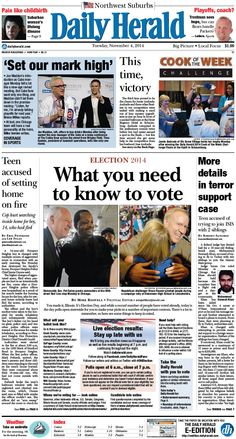 Daily Herald front page, Nov. 4, 2014; http://eedition.dailyherald.com/