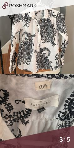 LOFT softened button up Softened button up in paisley ! Super comfortable and cute for work or play LOFT Tops Button Down Shirts