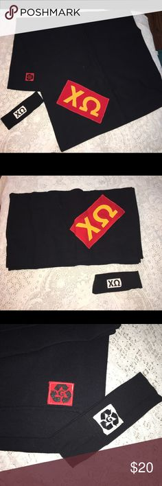 NWOT chi omega Sorority black blanket & headband NWOT Chi Omega black blanket & 1 headband / ear warmer. Blanket is 50% cotton & 50% polyester. Perfect for game day, tailgating and football season. Made in USA. $48 retail. Rare and one of a kind. #greek #life #college #university #chi #omega #sorority #pledge #red #black #big #little #sister #new Never used. Smoke free home. Check closet for similar items & additional sororities. ❌no trades❌ Accessories Scarves & Wraps