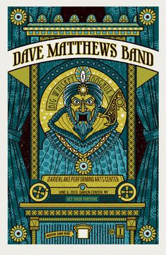 Dave Matthews Band concert poster, by Methane Studios Dave Matthews Band Posters, Darien Lake, Tour Posters, Travel Posters, Concert Posters, Music Posters, Graphic Design Illustration, Graphic Art, Poster Prints