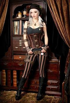 From the Steampunk Fashion Guide's Guide to Corsets - Underbust corsets: Kato's Steampunk in Pants