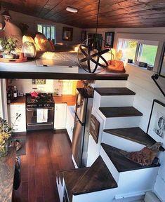 Good Loft Stair for Tiny House Decor Ideas - Ma Home Design Tiny House Loft, Tiny House Living, Tiny House Plans, Tiny House Design, Home And Living, Tiny Houses, Rv Living, Living Rooms, Tiny Little Houses