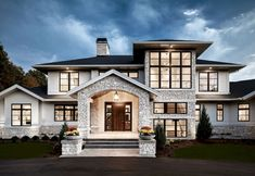 Modern Farmhouse Exterior with arched entry. Modern Farmhouse Exterior Modern Farmhouse Exterior with arched wntry. Style At Home, Contemporary Style Homes, Contemporary Design, Contemporary Houses, Big Modern Houses, Modern Mansion, Nice Houses, Contemporary Home Plans, Modern Home Plans