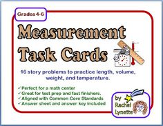 Classroom Freebies: Math Measurement Story Problem Task Cards