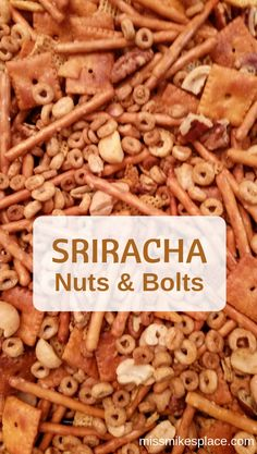 Sriracha spiced nuts and bolts. A spicy holiday snack. Trail Mix Recipes, Snack Mix Recipes, Spicy Recipes, Snack Mixes, Cooking Recipes, Holiday Baking, Christmas Baking, Christmas Cookies, Spicy Nuts And Bolts Recipe