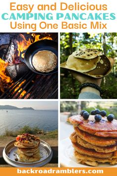 There's nothing like camping pancakes after a night under the stars! These awesome recipes for camping pancakes all use one basic mix, so you can make the basic camping pancake mix at home and then add the rest of the ingredients when you're camping. Campfire Desserts, Campfire Recipes, Campfire Food, Snack Recipes, Camping Pancakes, Camping Snacks, Hiking Food, Hiking Tips, Road Trip Food