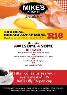 Mikes Kitchen Milnerton Breakfast Menu Breakfast Specials, Breakfast Menu, Fresh Fruit, French Toast, Bacon, Chips, Beef, Healthy, Kitchen