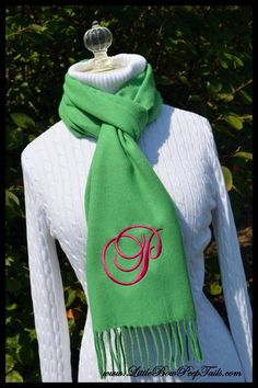 Single Initial Women's Personalized Scarf - Monogrammed Script girls adult teacher practical cashmere feel warm bridesmaids on Etsy, $21.95