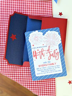 """These fun, printable 4th of July invitations are bursting with patriotic pride. Go USA! """"Meet the Maker"""": Celebration Shoppe – Americana -   