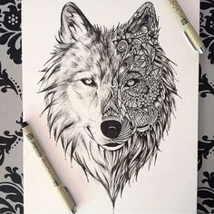 Wolf Drawing ❤ liked on Polyvore featuring home, home decor and wall art