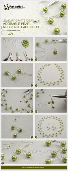 tutorial on adorable pearl necklace earring set - Follow the easy jewelry crafts ideas to make an adorable and amusing pearl necklace and earring set. Only the necessary pearl beads and assistive pins are needed. You may love the pattern so much!