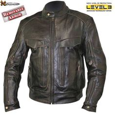 Xelement Mens Retro Brown Bandit Buffalo Leather Cruiser Motorcycle Jacket with Level-3 Armor