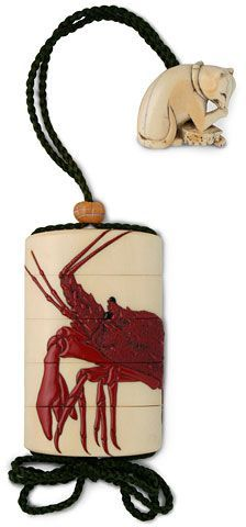 Ivory four-case inro, 19th century, red lacquer ebi, Crawfish? Lobster? design & dog licking its paw attached.