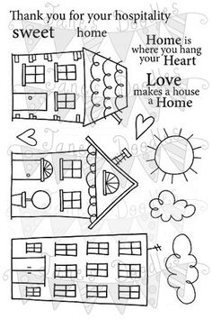 Clear Stamps - Page 3 - Jane's Doodles House Quilt Patterns, House Quilts, Applique Patterns, Rug Patterns, Doodle Drawings, Doodle Art, House Doodle, Bordados E Cia, Stamp Making