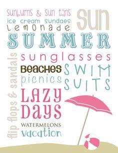 Free Wall Art Summer Short Stop Designs Summer Crafts, Summer Fun, Summer Time, Word Collage, Diy Calendar, Scrapbook Titles, Disney Home Decor, Japanese Poster, Do It Yourself Home