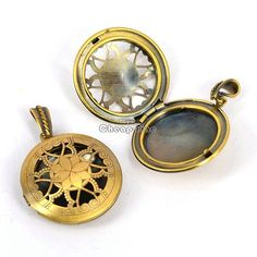 5X Antique Gold Tone Tone Hollow Around Photo Picture Frame Locket Pendant | eBay