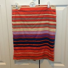 The Limited Pencil Skirt Orange striped pencil skirt from The Limited. size 4. 98% cotton. 2% spandex. The Limited Skirts Pencil