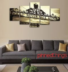 Liverpool FC 5 Piece Canvas Liverpool Fc, Couch, Wall Art, Canvas, Bedroom Boys, Furniture, Home Decor, Style, Deco