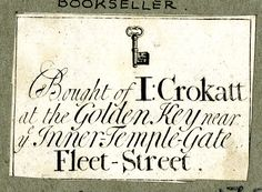 Label of J Crokatt, bookseller