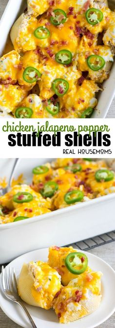 These Chicken Jalapeno Popper Stuffed Shells are a crave-able dinner perfect for busy weeknights! Make a double batch and freeze half for later! #Chickendinner #Stuffedshells Mexican Dinner Recipes, Easy Dinner Recipes, Pasta Recipes, Appetizer Recipes, Chicken Recipes, Cooking Recipes, Healthy Recipes, Dinner Ideas, Meat Recipes